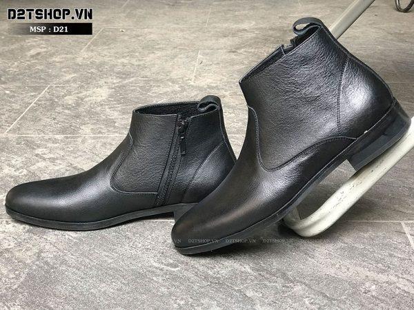 Giày Nam Cao Cổ Chelsea Boot Da Bò Nhập Ngoại Cực Mềm D21