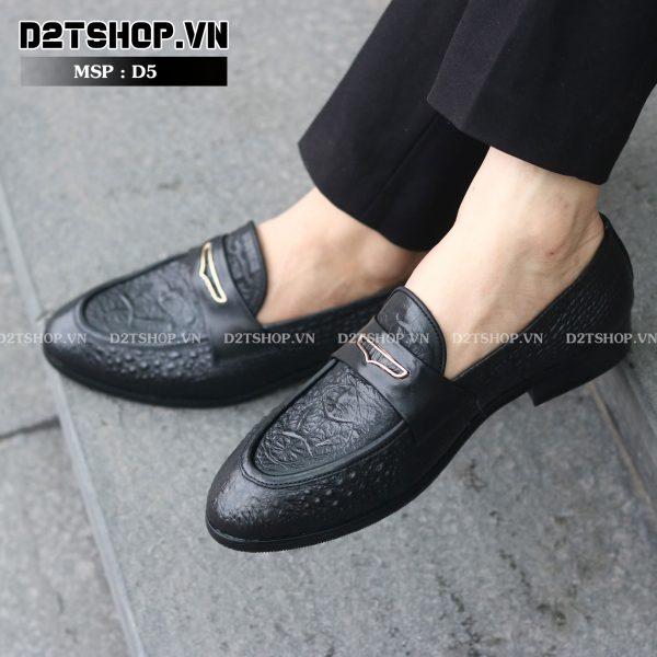 Giày lười nam da bò dập vân cá sấu D5