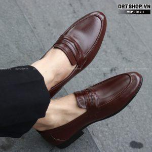 Giày lười nam da bò khoét đai màu nâu D17-1
