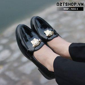 Giày lười nam giá rẻ chất liệu da bóng kết hợp mặt versace N55-1