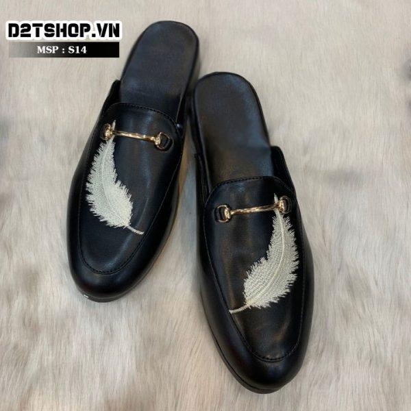 Giày sục nam giá rẻ thêu lông vũ màu trắng S14
