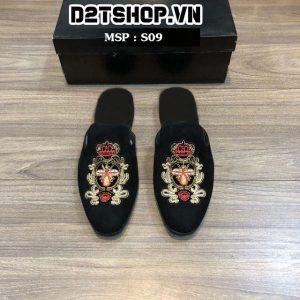 Giày sục nam chất liệu nhung thêu họa tiết ong đỏ S09
