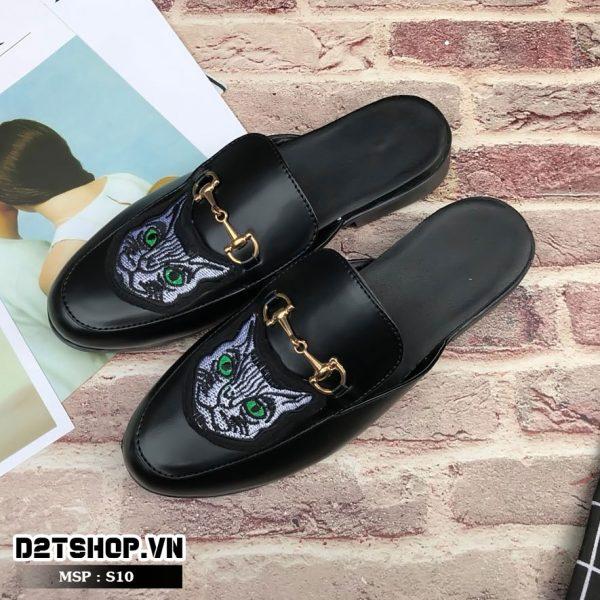 Giày sục nam giá rẻ thêu họa tiết mặt mèo S10