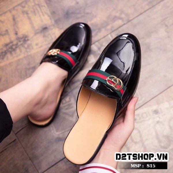 Giày sục nam da bóng giá rẻ gắn mác Gucci S15