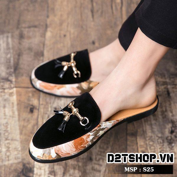 Giày sục nam họa tiết độc đáo S25