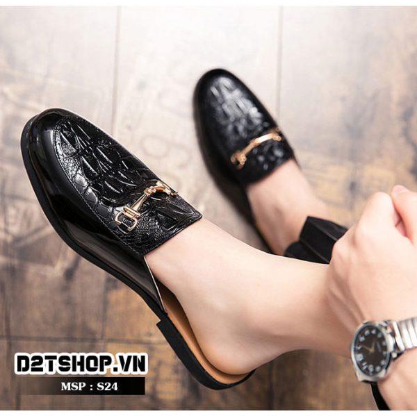 Giày sục nam dập vân kết hợp xích giá rẻ và đẹp S24